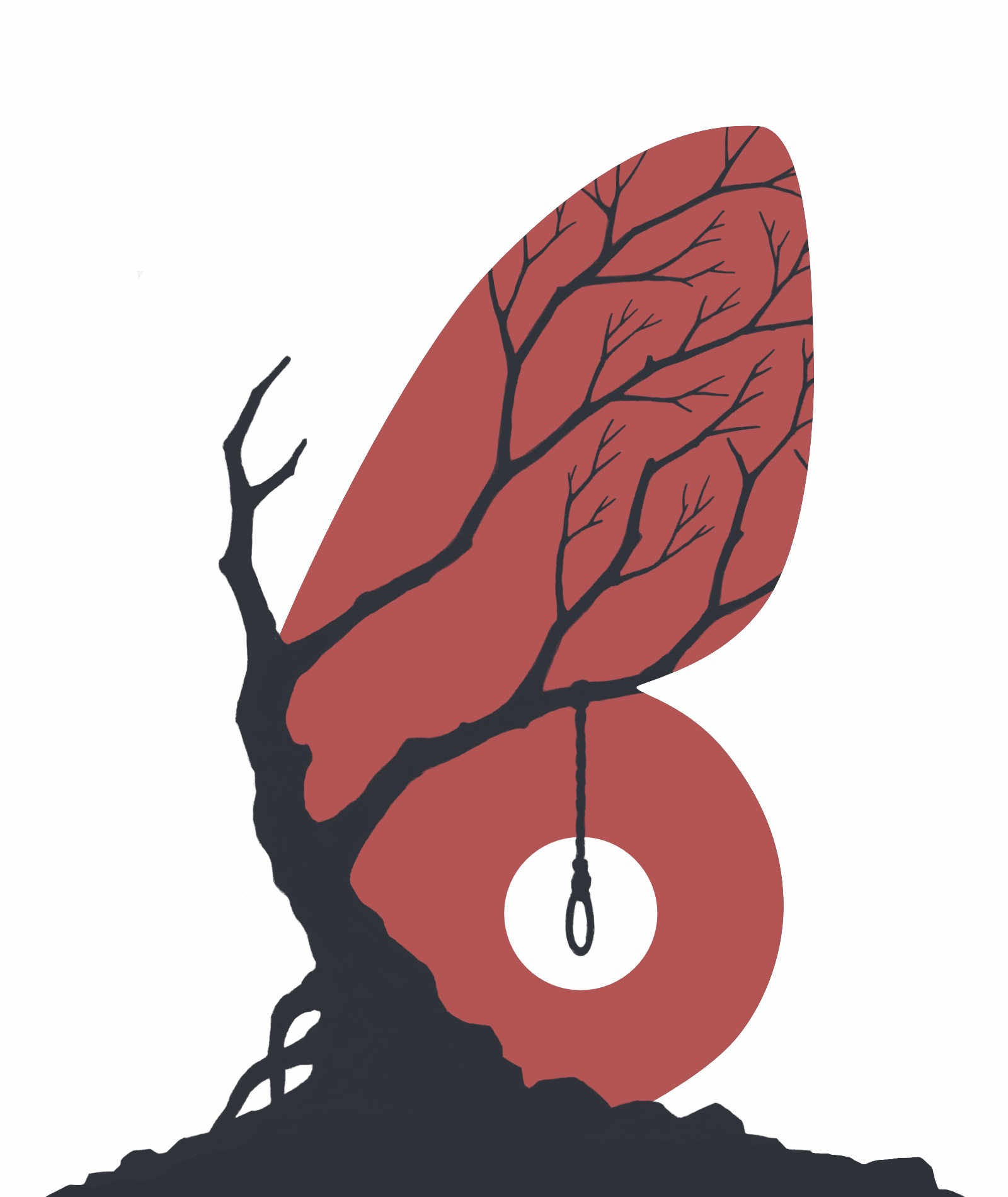book cover: a silhouette of an old, crooked, leafless tree with a noose hanging off one of its branches; the red sky behind it is cropped in the form of a butterfly wing, making the tree trunk look like the body of a butterfly and its branches like the pattern of butterfly wings